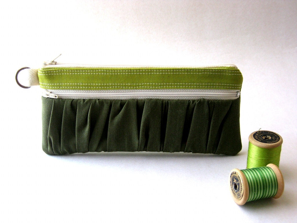 20% OFF- Etsy Black Friday-  The True Romantic Pouch - a fabric pencil case or pouch in apple green /dark green