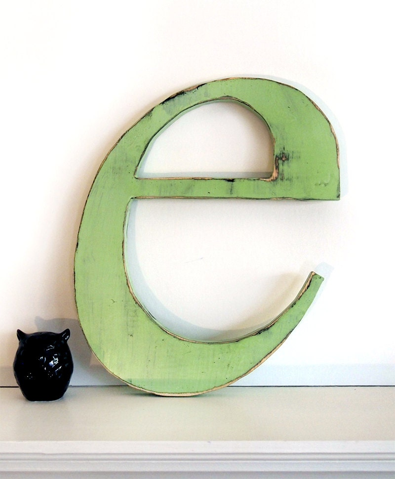 Wooden Letter E (Pictured in Moss)Pine Wood Sign Wall Decor Rustic Americana Country Chic Wedding Photo Prop Nursery Kids Decor - ThePineNuts