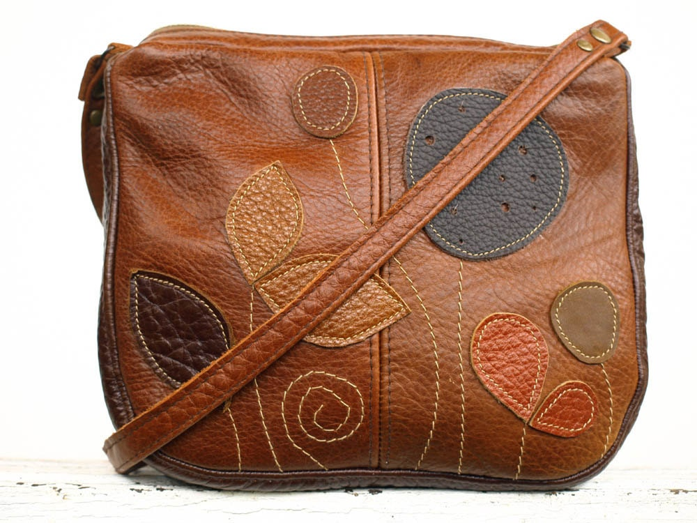 Brown Leather Bag Cognac Leather  Bag Applique Leaves Bag Leather Fall Handbag Rustic Harvest Colors - EightSeasons