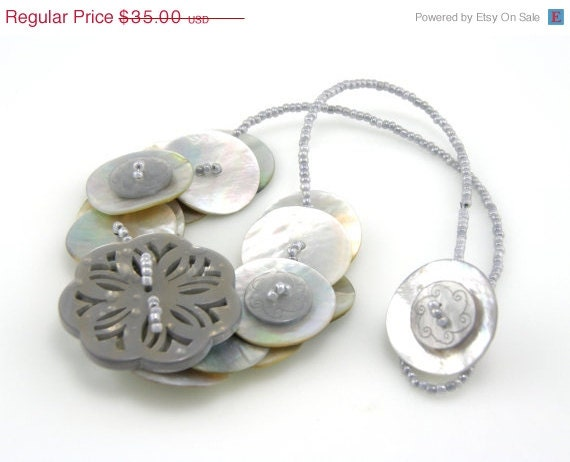 Button Necklace Charcoal Grey Mother of Pearl Press Gift for Academy Awards