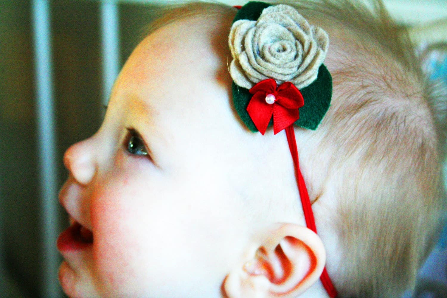 SALE--Baby Girl Christmas Headband--Baby Girl Holiday Headband--Christmas Headband--Baby Girl First Christmas