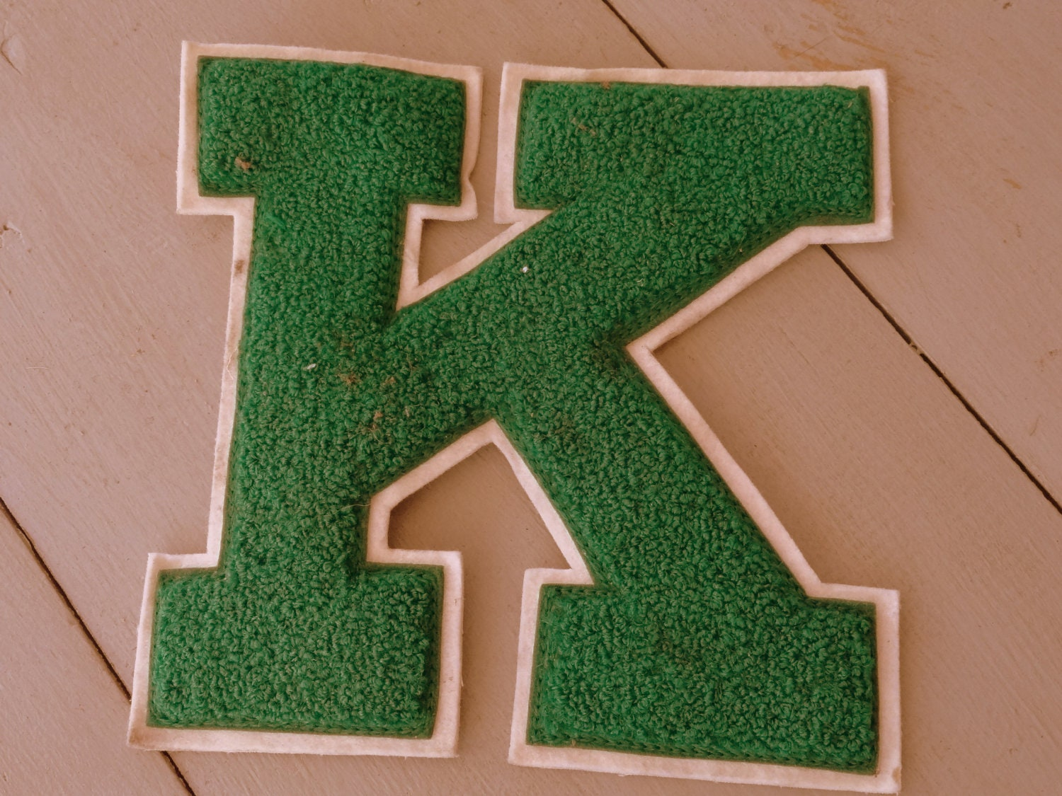 Vintage Varsity Letter K, Lettermen's Sweater or Jacket Letter, High School 1961 Sports Patch - countryfences