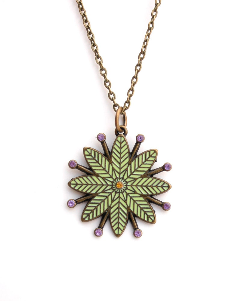 Mint Green Enamel Flower Necklace Buy 3 Get 1 Free