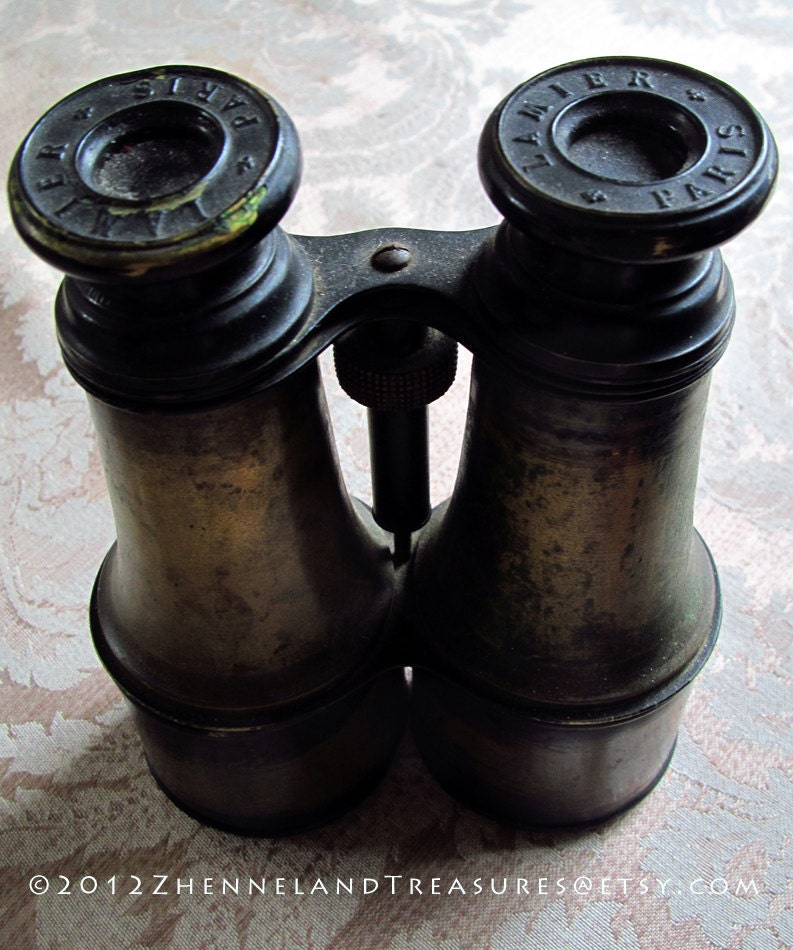Antique Brass French Binoculars Lamier Paris Old World Charm