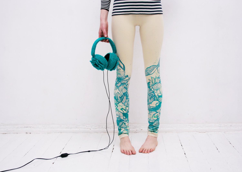 Beige mint print leggings - ZIBtextile