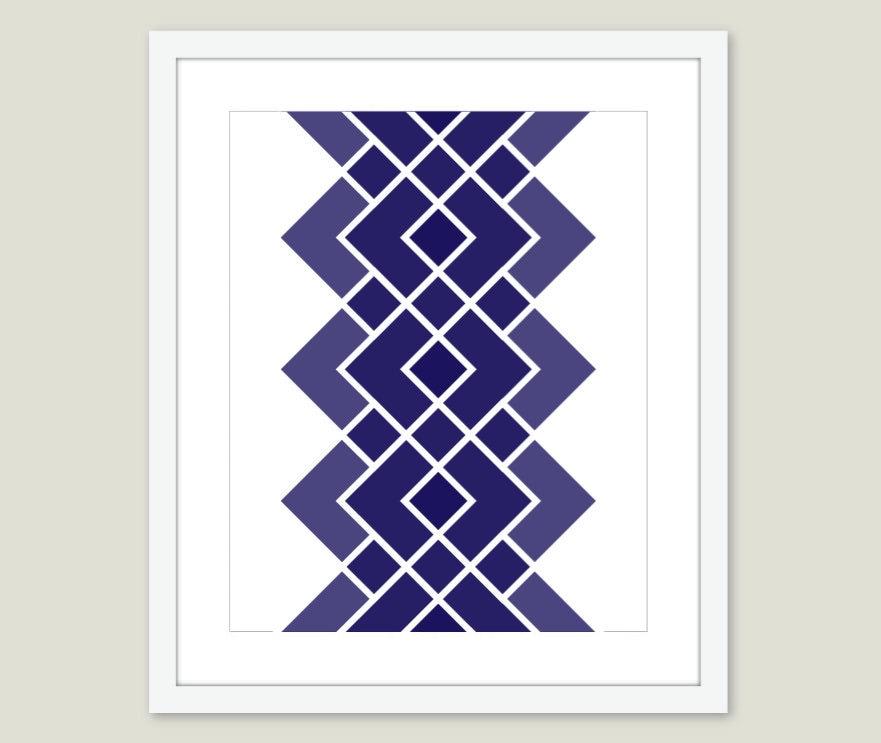 Geometric Digital Print - Modern Home Decor - Navy Blue - Wall Art- Retro - Geometry- Diamond - AldariArt