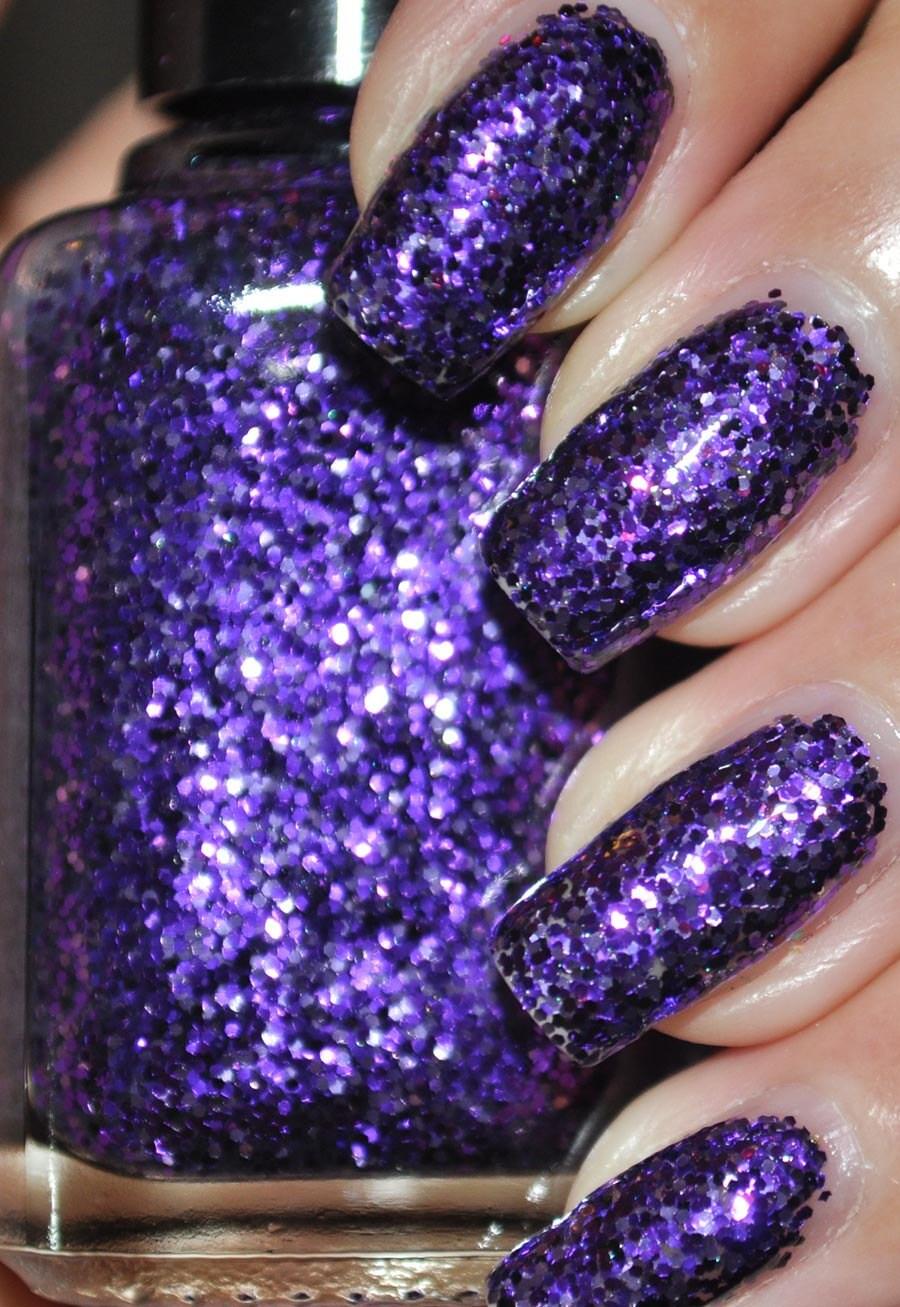 Pony Purple Glitter Nail Polish 5ml Mini Bottle