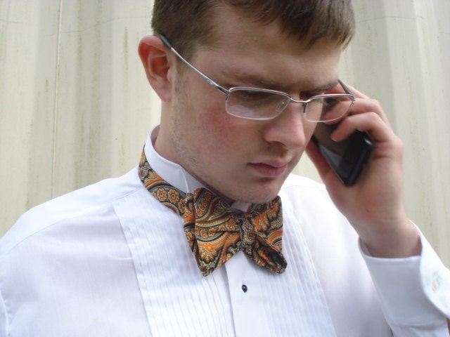 Large Paisley Butterfly Bow Tie Orange Brown The Original Adjusto Tie
