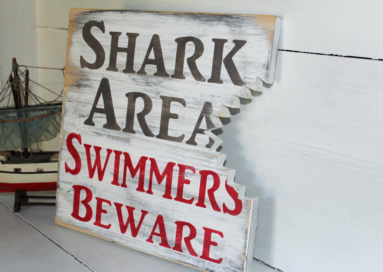 Shark Bite Sign Nautical Nursery Or Coastal Decor - justbeachyshop