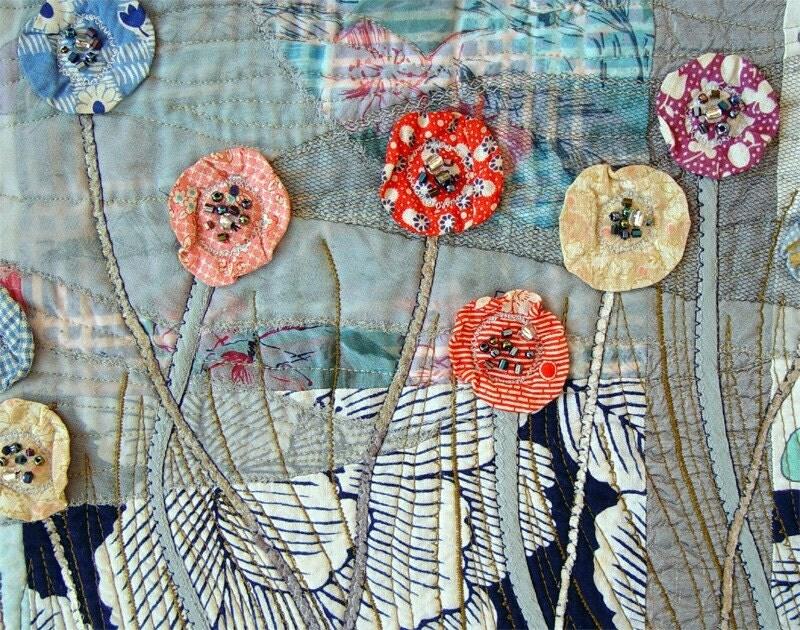 TEXTILE ART, Garden In The Night, Art Quilt, Home Decor, Midnight Blue - BozenaWojtaszek