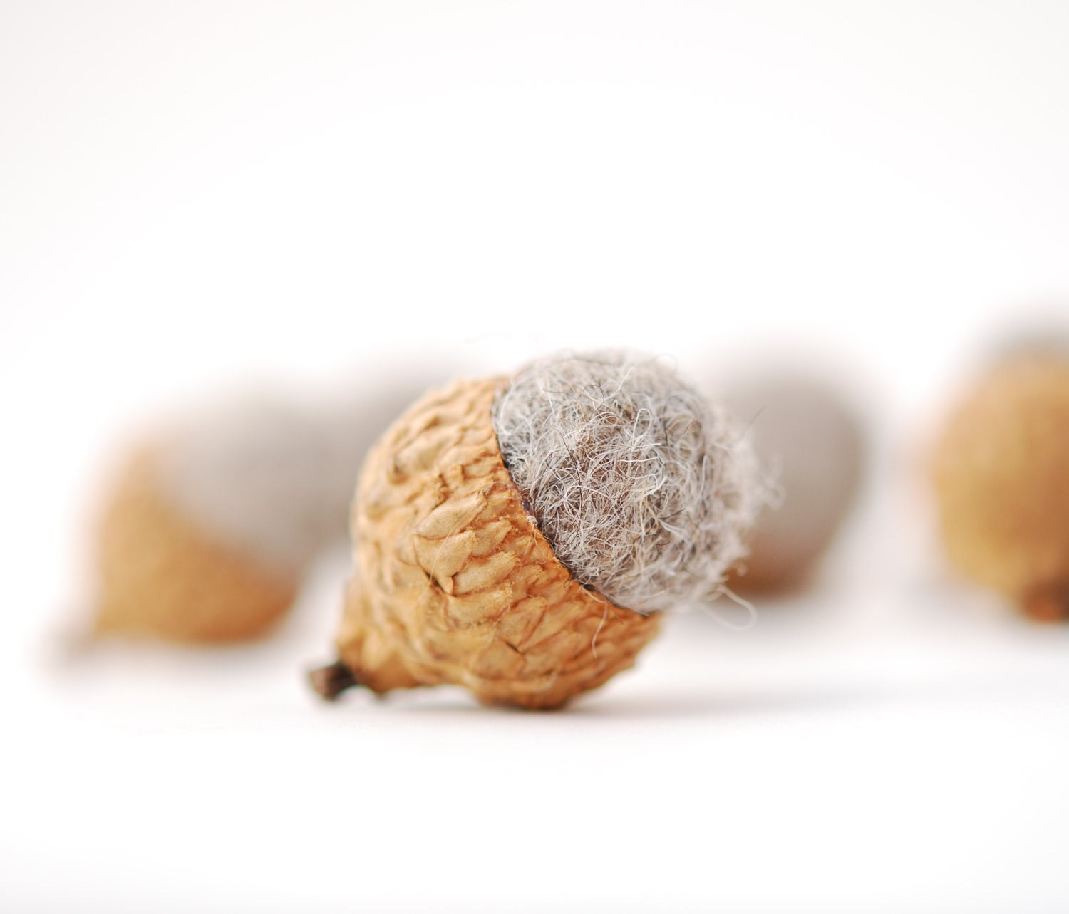 Felted Acorns, grey woodland holiday festive decor ecofriendly