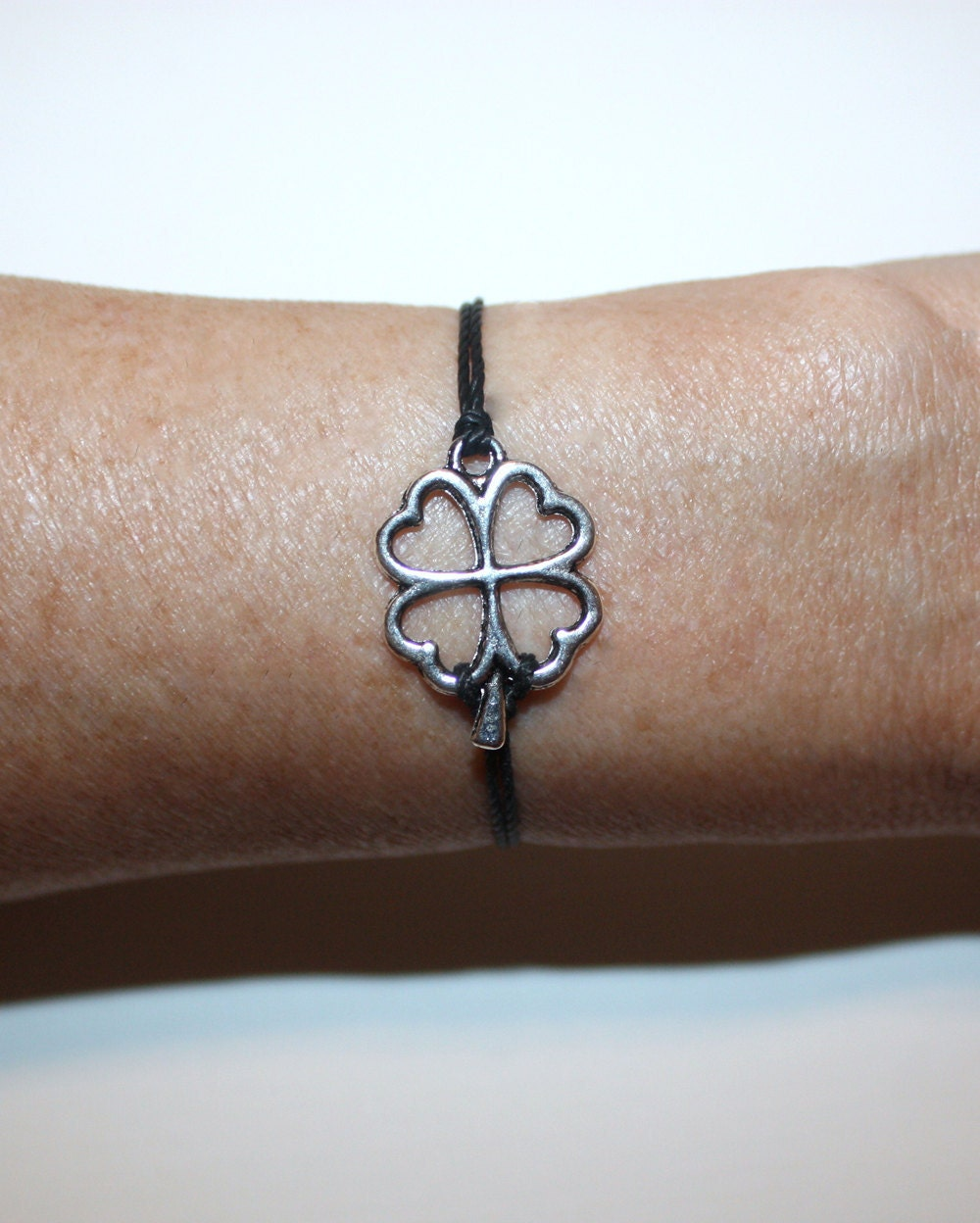 Four Leaf Clover Wish Bracelet - Shamrock - Tibetan Silver - BelieveInGoodKarma