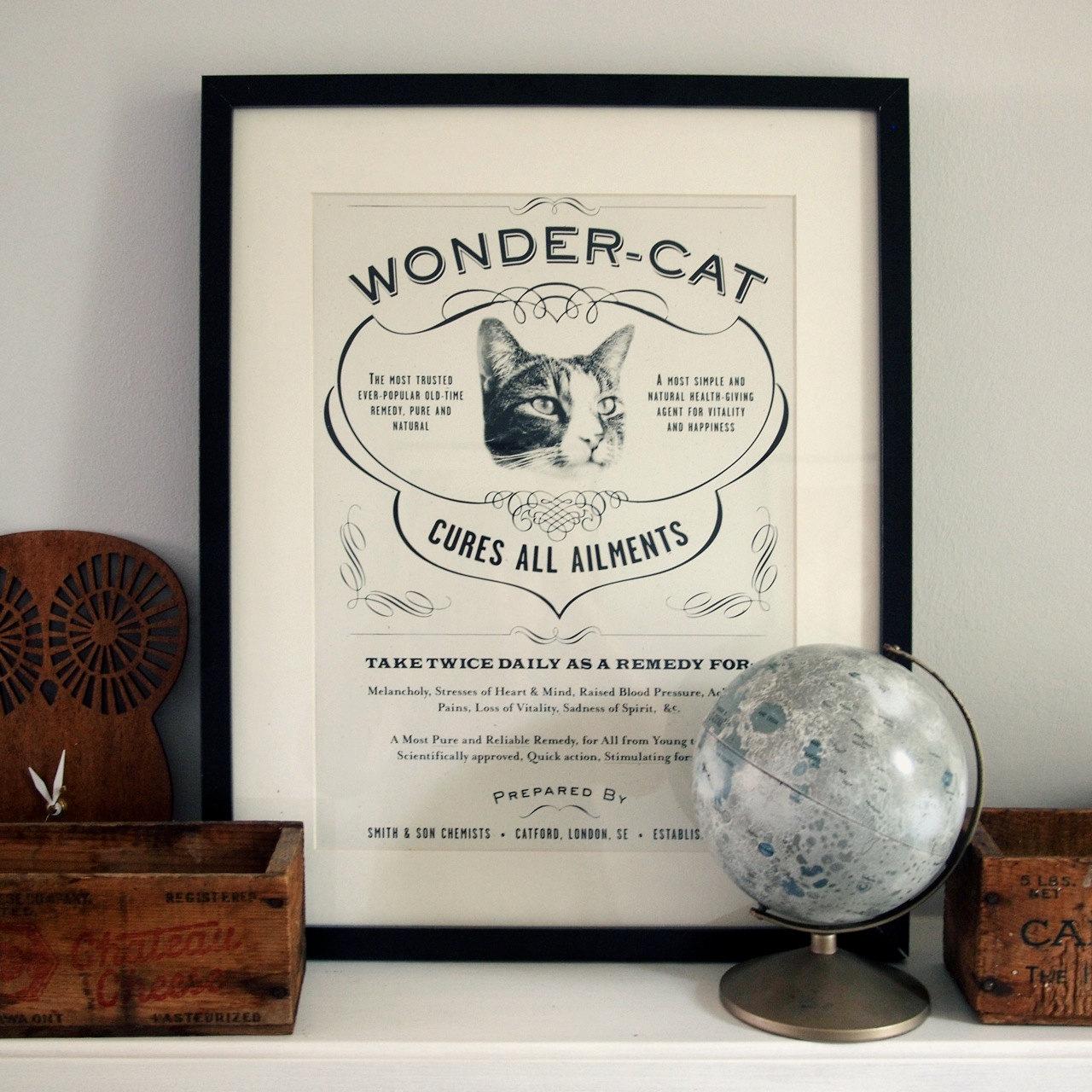 Wondercat vintage cat print
