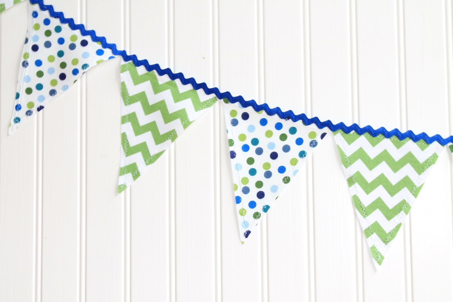 Blue and Green Fabric Pennant Banner