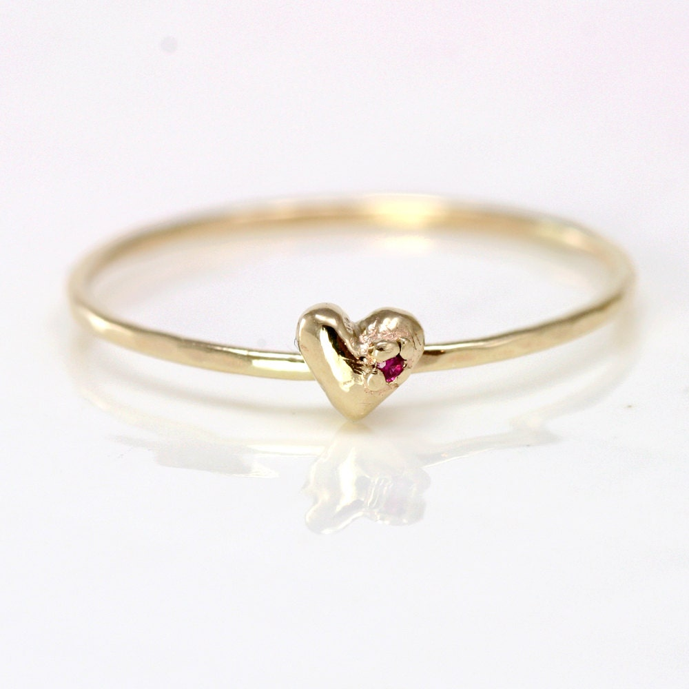 Ruby Heart Ring, 14k Gold Stacking Ring