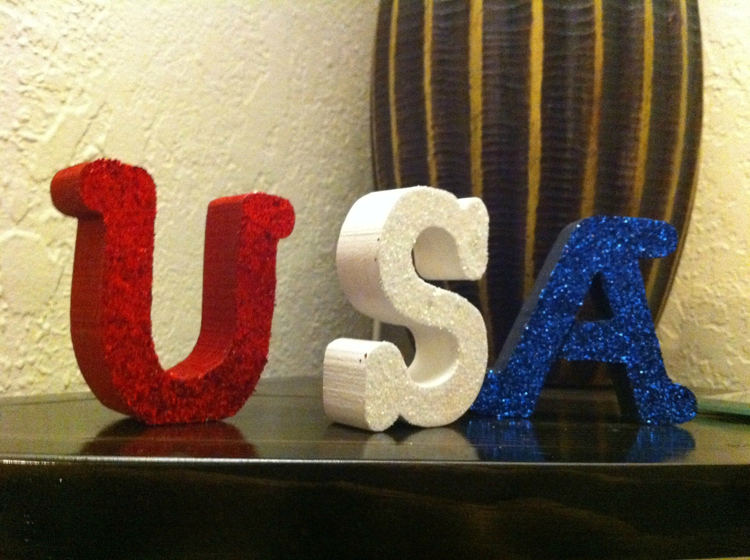 USA--Red, White, and Blue Mini Wood Letter Set