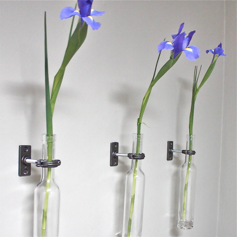 Wine Bottle Wall Flower Vase - Wall Vase - Modern Wall Decor