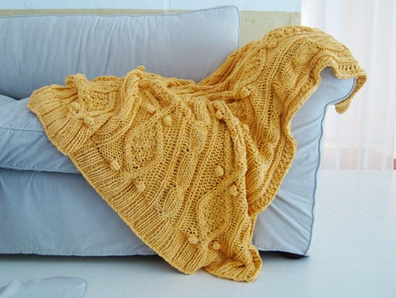 chunky sunshine yellow cotton cable knit throw - BiscuitScout