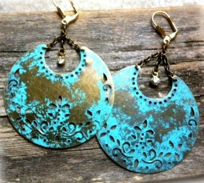 Hand-painted antiqued discs statement earrings by LeslieAnnLevine on Etsy
