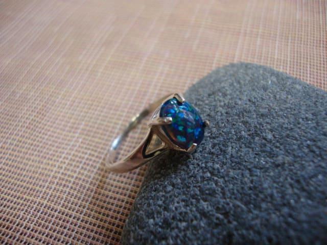 Australian Blue/Green Fire Opal Handmade Sterling Silver Handmade Ring
