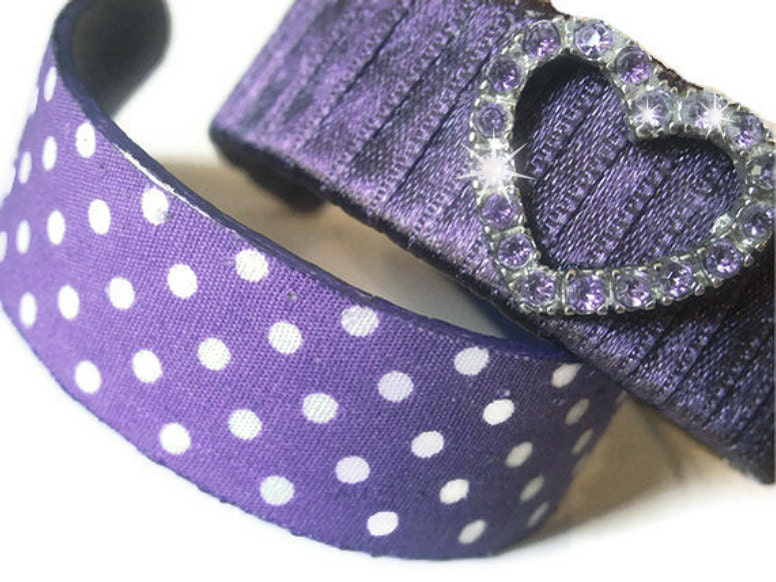 Purple Polka-Dot and Ribbon Wrapped Wooden Bangles With Heart Charm - uramazing