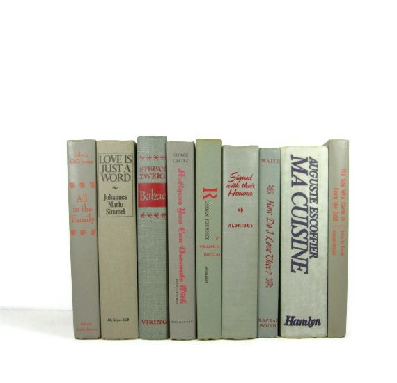 Vintage Books Grey Green Neutral Wedding Decor  Home  and Photography Prop - DecadesOfVintage