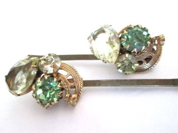 Bridal Green Gold Jeweled Hair Crystal Accessories Hairpins Bobby Pin Set Clips Vintage Green Wedding