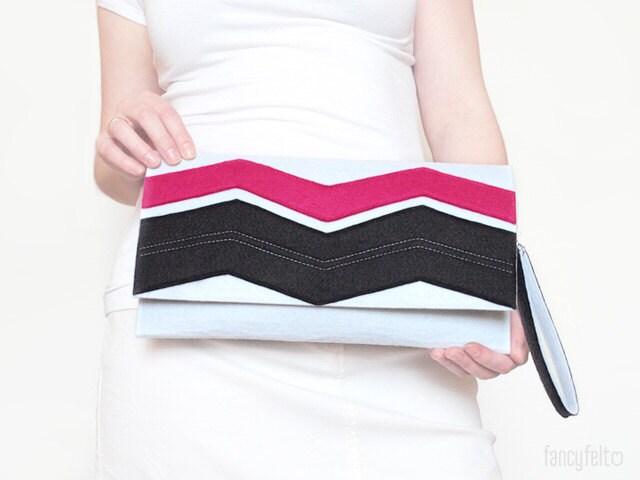 Black Friday - 15% off Geometric white, black and pink felt clutch bag