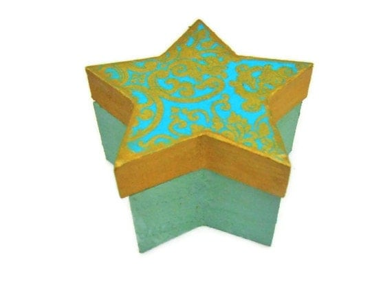 Magnetic Star Box - Small Wooden Star Shaped Box with a Magnetic Lid Decoupaged in a Gold and Aqua Damask Print - Lovefortheworld