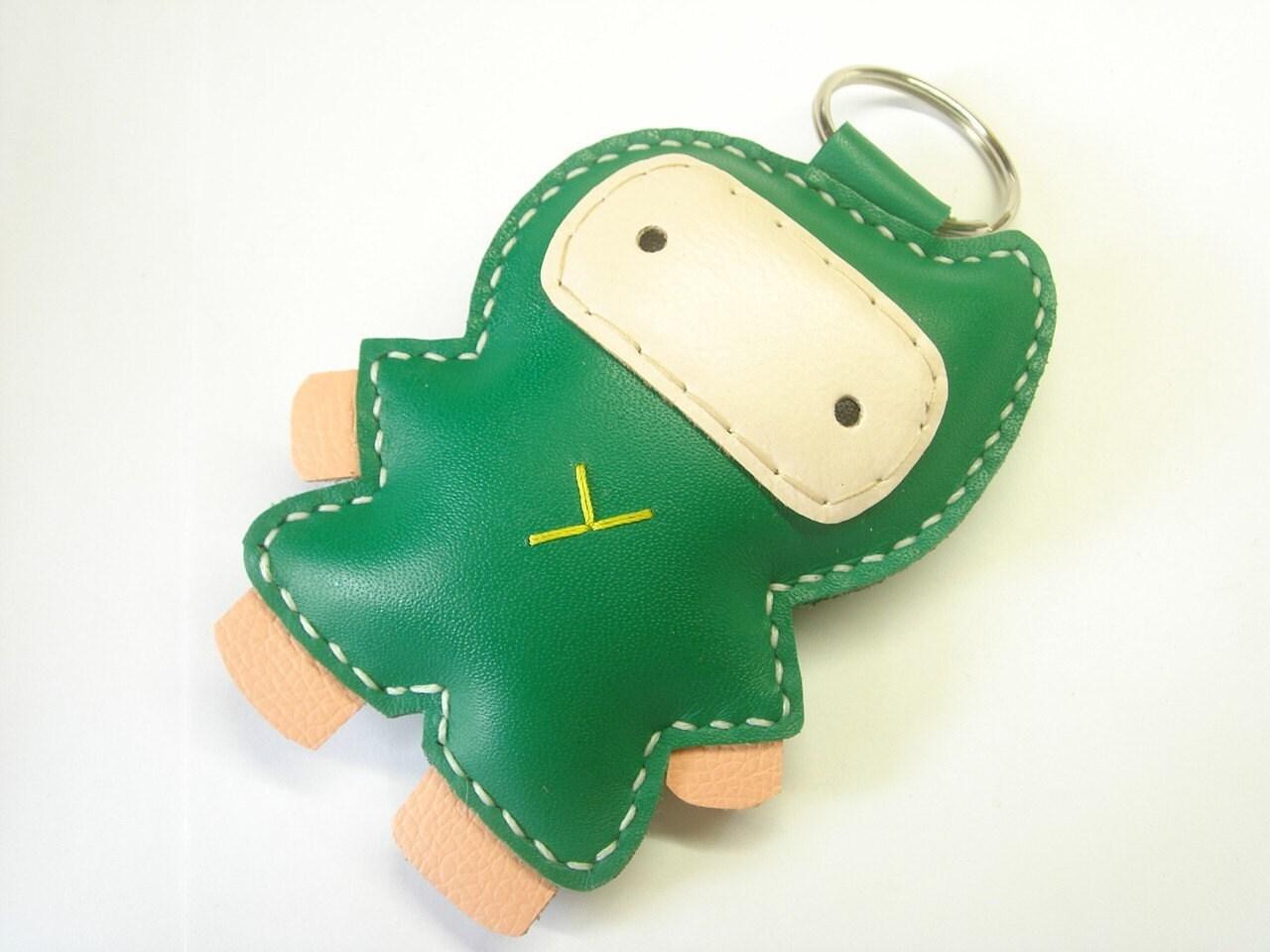 BIG Taka the Ninja Leather Keychain ( Green )