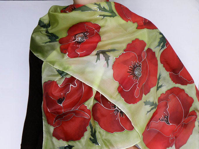 Hand painted Womens silk scarf red poppies on light green background natural silk FREE SHIPPING