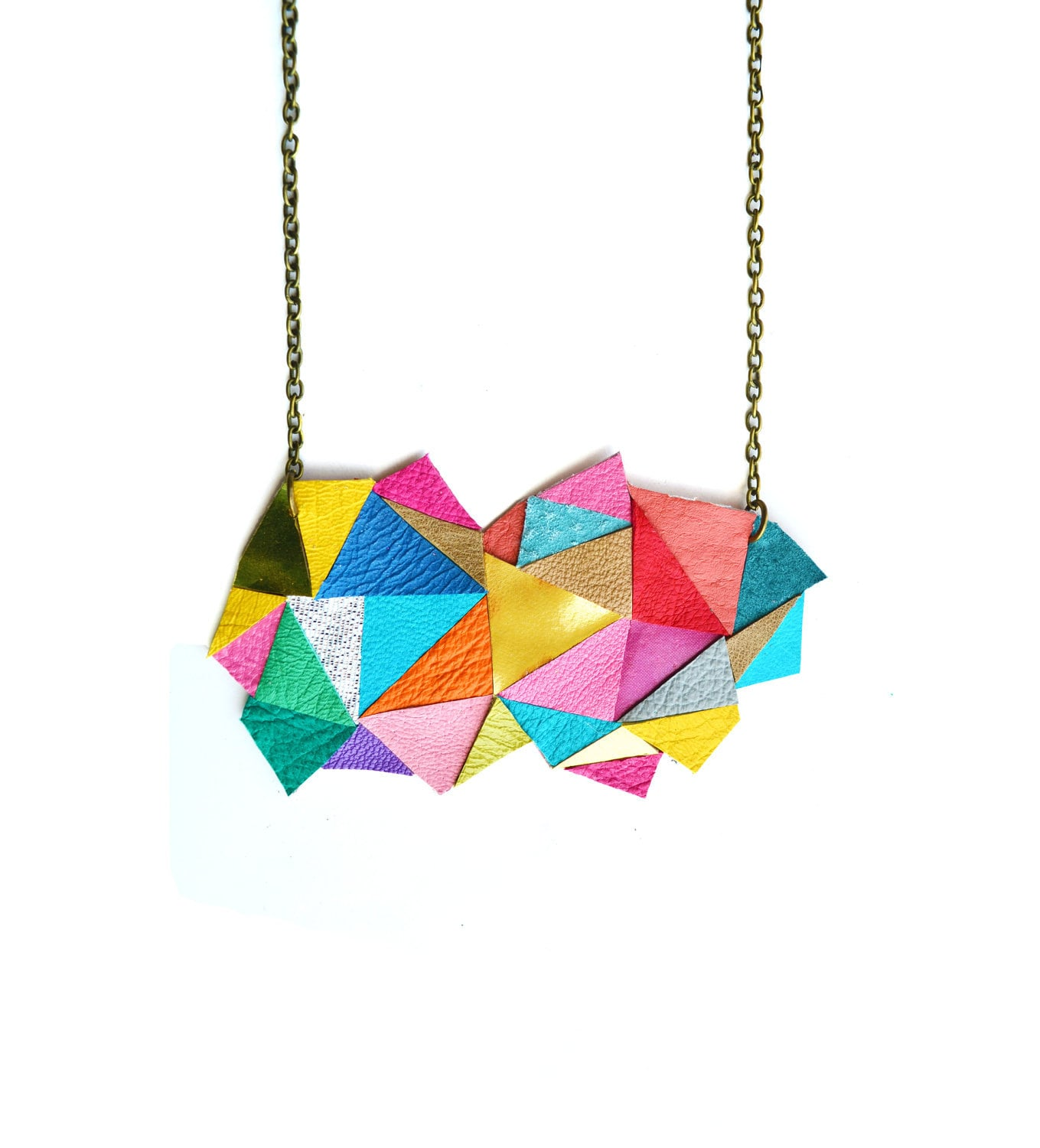 Geometric Necklace Neon Triangles and Modern Angles - BooandBooFactory