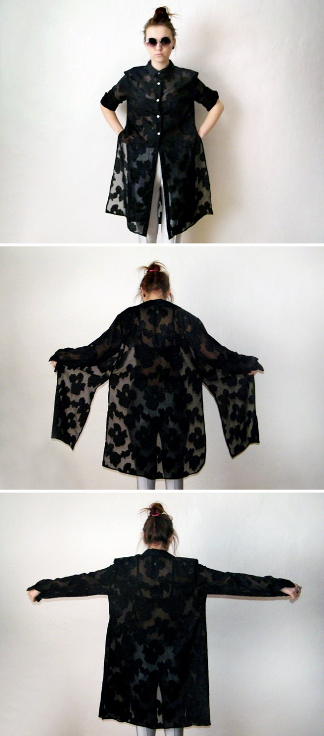 90s Black Long Duster - Vintage Floral Goth Grunge Sheer Tunic Blouse Gypsy Kimono Long Sleeve Button Up Shirt Witch Vamp Hippie Boho - XZOUIX
