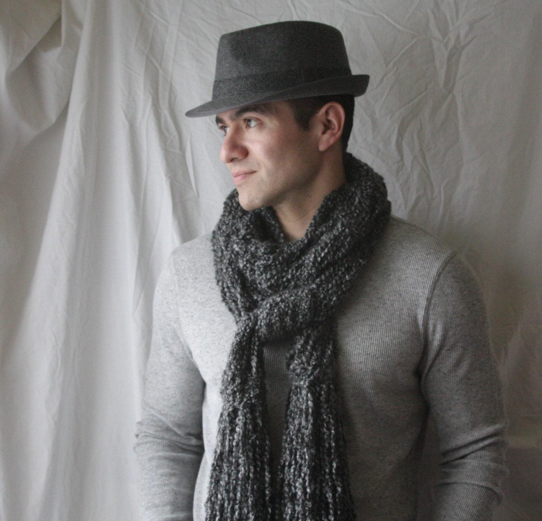 Knit scarf grey / dark grey extra long - DaisyBelleDesignCo