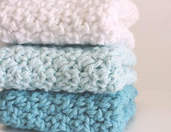 Crochet Cotton Dishcloths Washcloths Turquoise Dusk Blue White - Sweetbriers