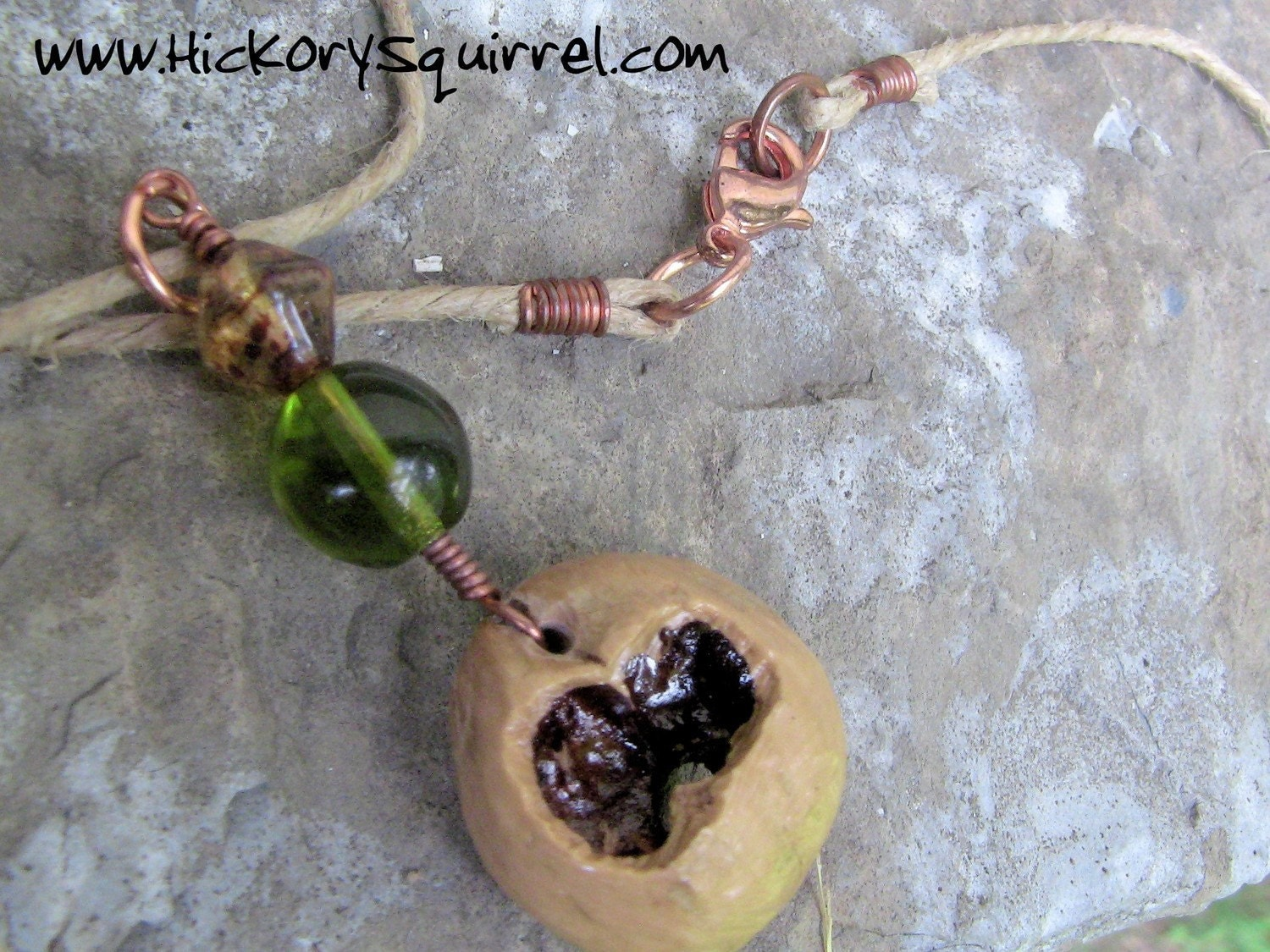 SQUIRREL Chewed  Hemp Necklace w/ Green and Amber Beads