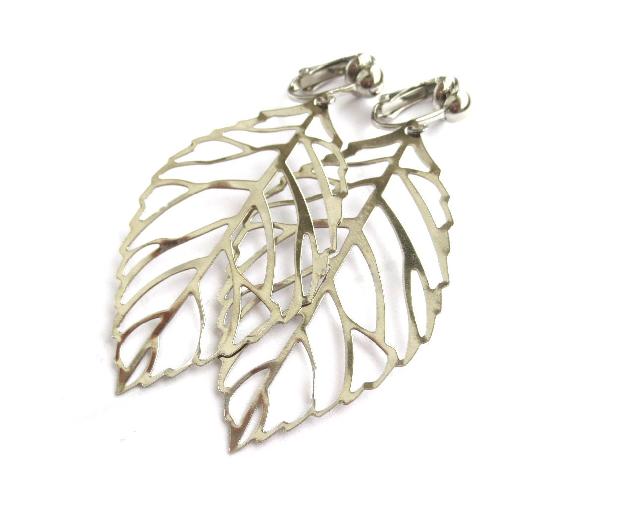 L E A V E S - Silver Leaf CLIP Earrings
