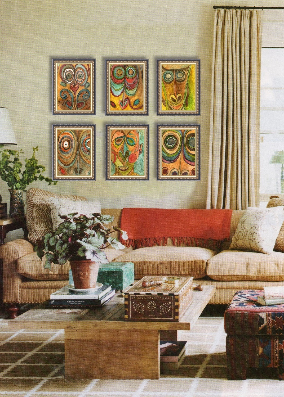 African Art, Fine Art PRINT Set of 6 Tribal Ethnic Global Decor Sophisticated Modern Home orange teal turquoise boho decor - SchulmanArts
