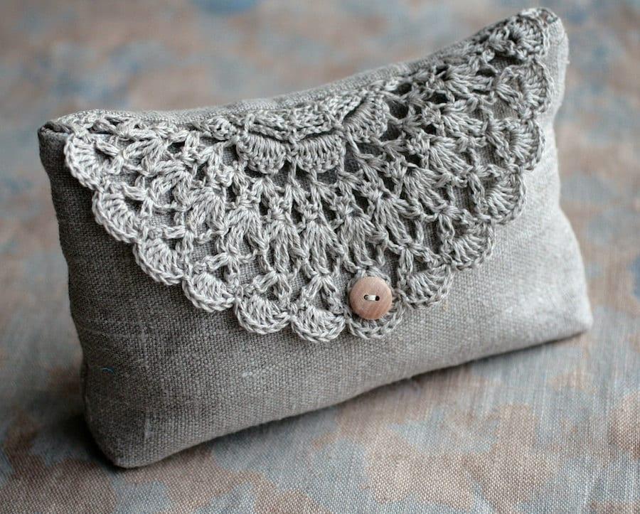Linen Clutch Pouch Purse Makeup Bag Crocheted Detail Closure