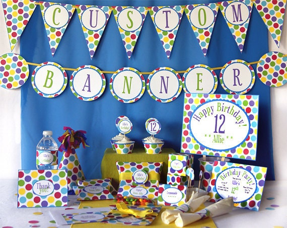 Birthday Party Printables - Complete Set - PDF digital - Party Supplies and Decorations - Multi Dots