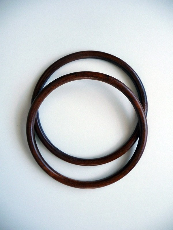 Pair of bag handle, wooden hoop, dia. 7.5 inch - Originsupplies