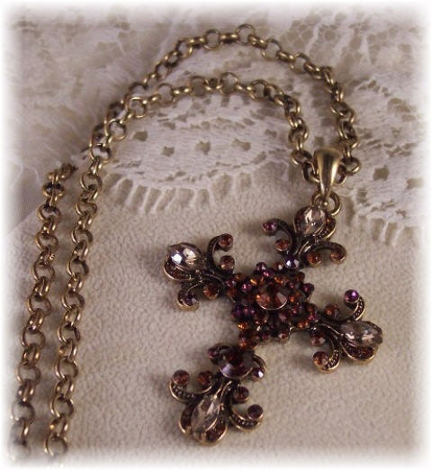 Amethyst/Topaz/Golden Shadow Rhinestone Crystal Vintage Cross Pendant Necklace