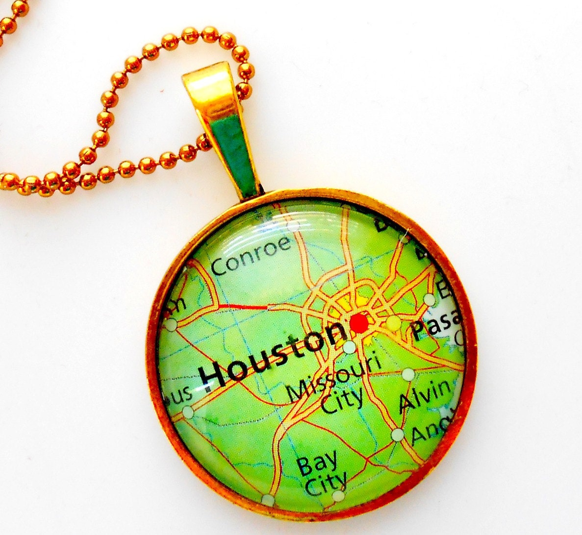 Map Necklace Houston Texas