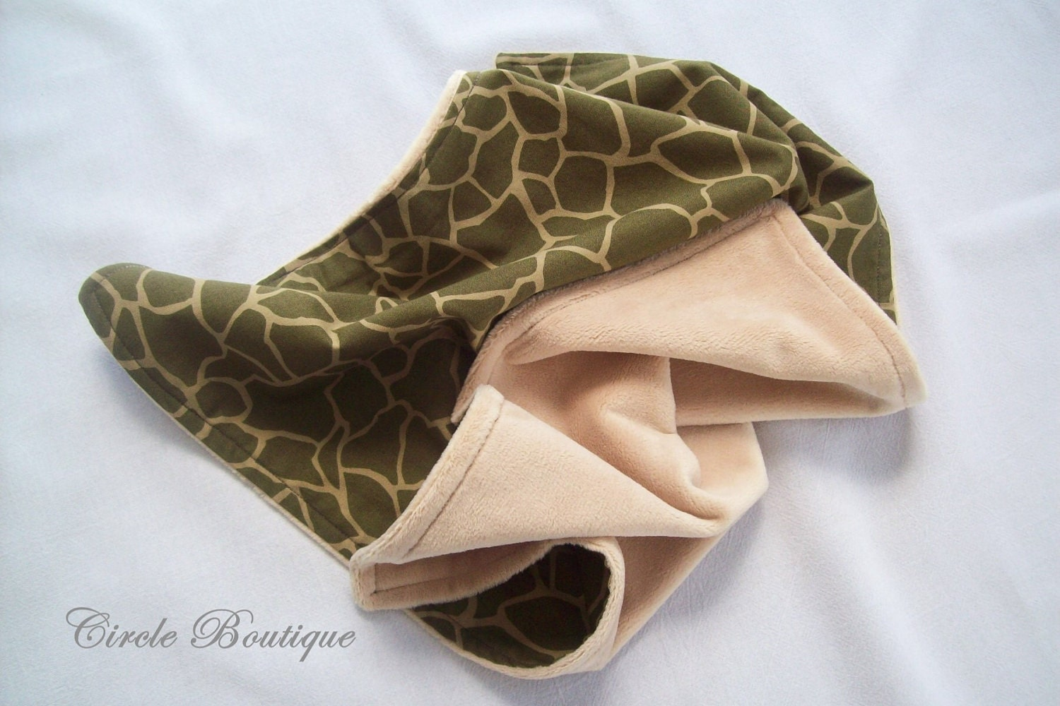 Giraffe Camo Lovey Security Blanket with Minky - CircleBoutique