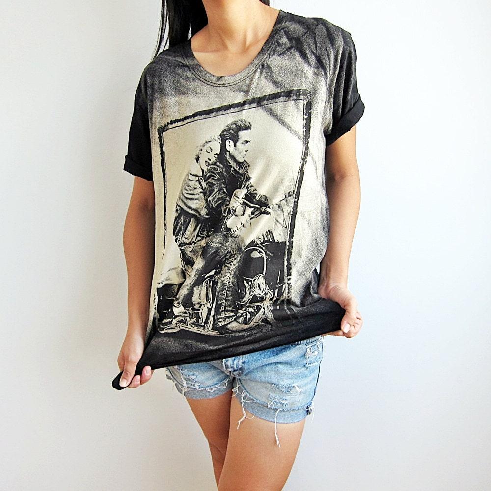 James Dean and Marilyn Monroe Pop Art Film Rock T-Shirt Size M