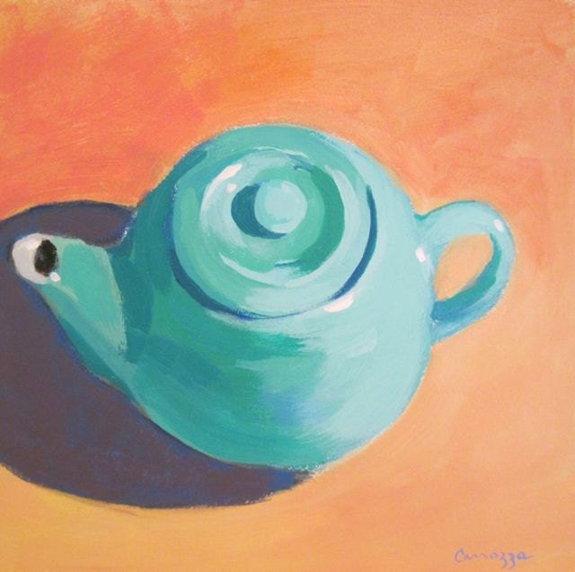 Turquoise Teapot - Original Still life Painting by Anne Carrozza. 6x6 inches - AnneCarrozzaFineArt