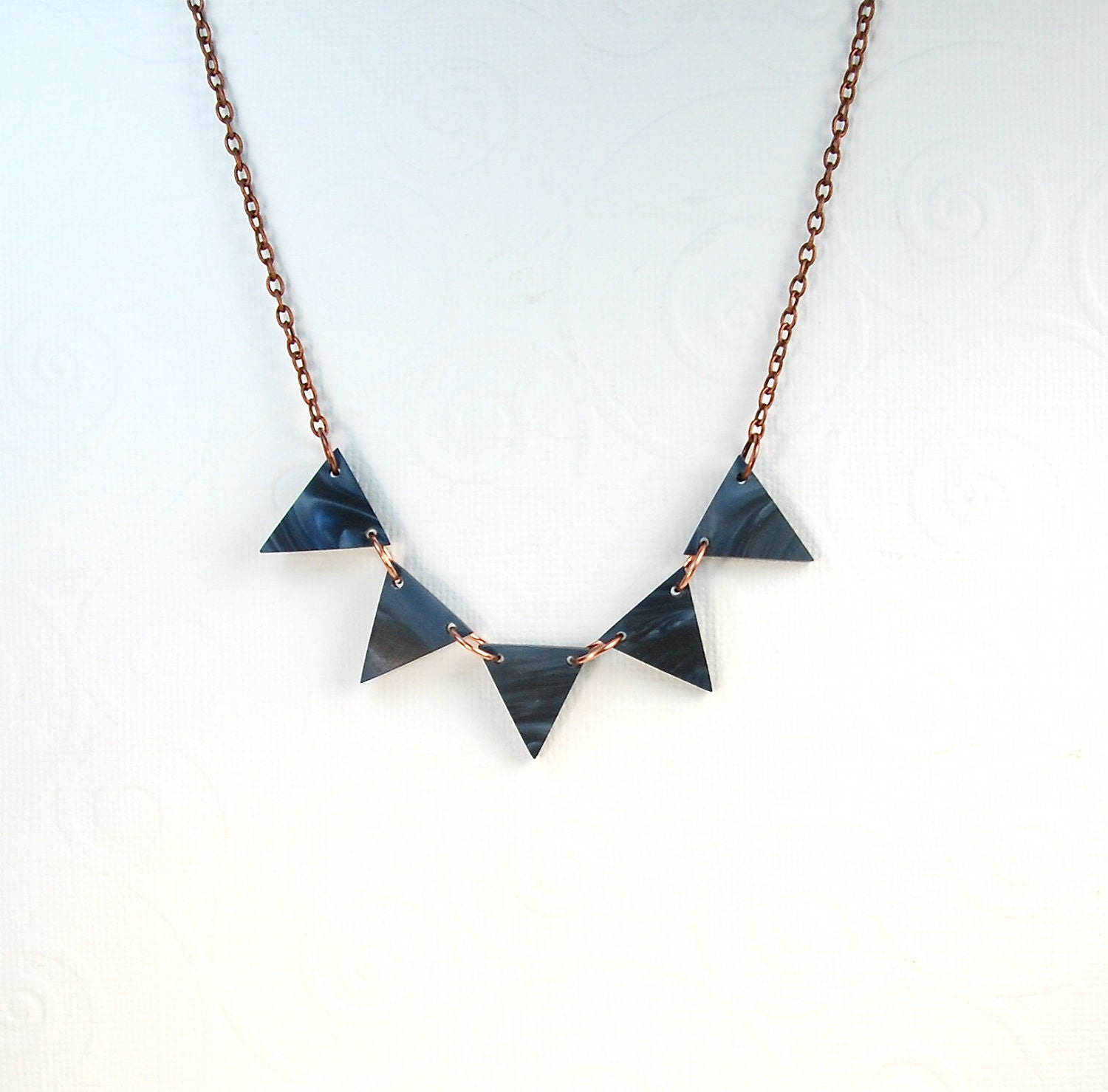 Delft Navy Blue Triangle Modern Necklace - ThePolkadotMagpie