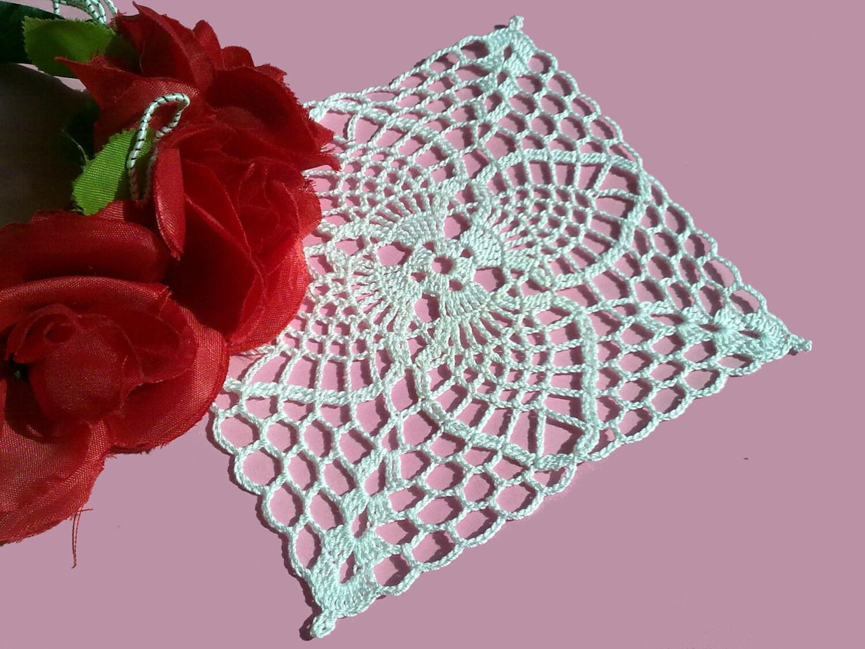 Crochet Coaster , Coaster Crochet Doily, Shabby Chic Decor, Square Doily, White Crochet Doily - CrochetMiracles