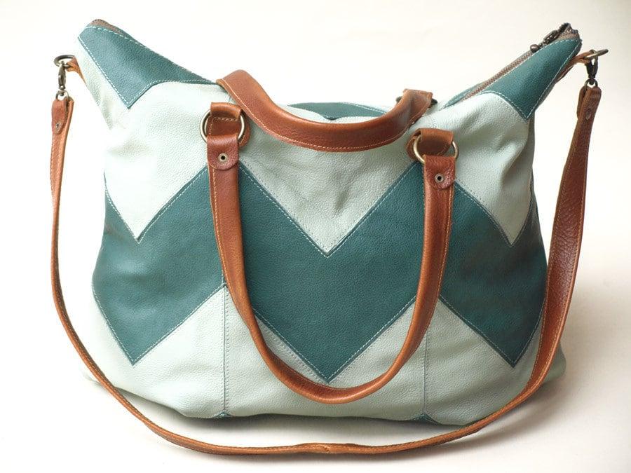 Chevron Leather Bag, Chevron Tote, Brown leather Bag, Leather Patchwork Purse, Laptop Bag, Geometric Tote, travel Bag - Summer fashion - PlainCases
