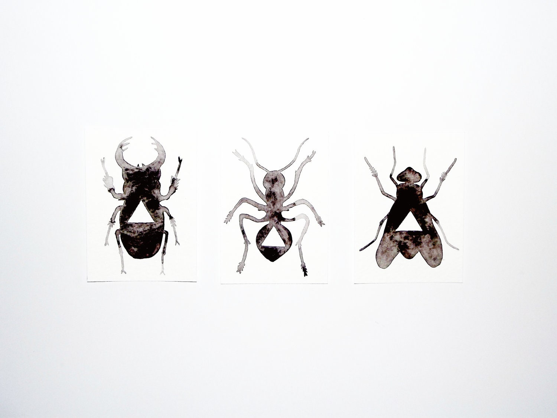 Set of 3 - Original Watercolor - Geometric Bugs - 5 x 7 - GeometricInk